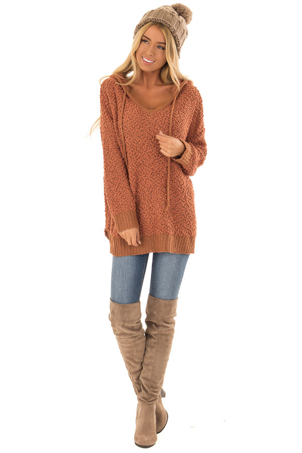 Rust Long Sleeve Popcorn Knit Hoodie with Ribbed Contrast front full body