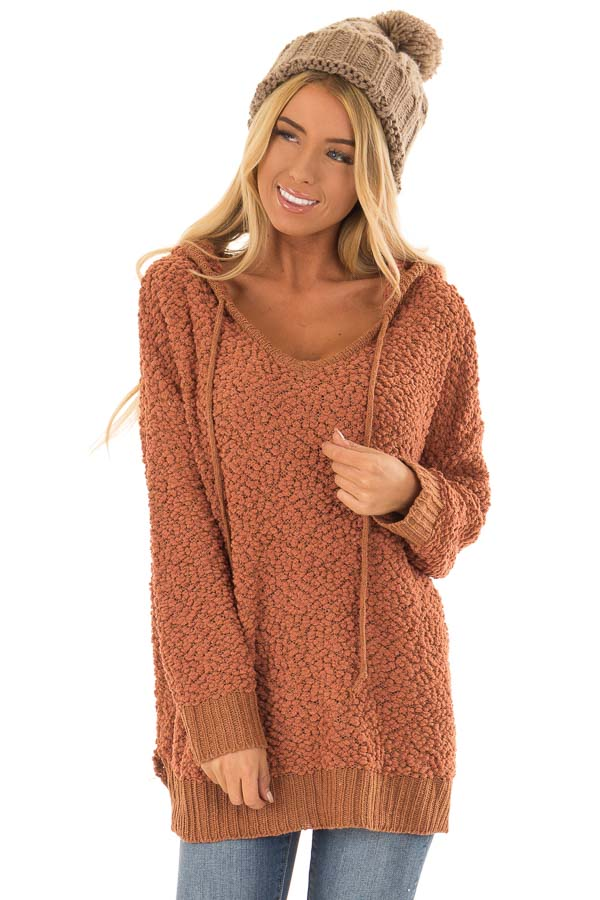 Rust Long Sleeve Popcorn Knit Hoodie with Ribbed Contrast front close up
