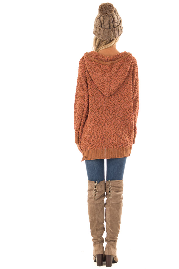 Rust Long Sleeve Popcorn Knit Hoodie with Ribbed Contrast back full body