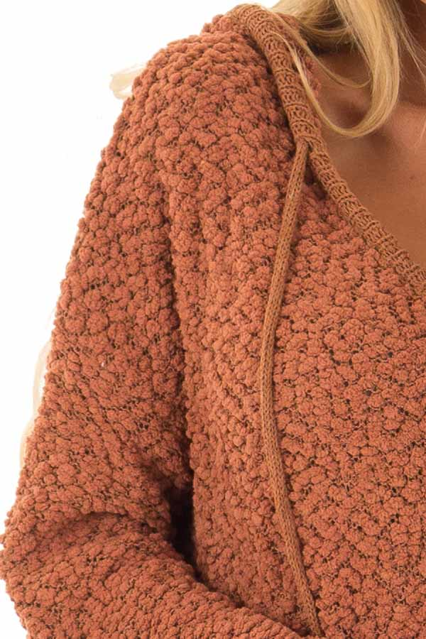 Rust Long Sleeve Popcorn Knit Hoodie with Ribbed Contrast detail