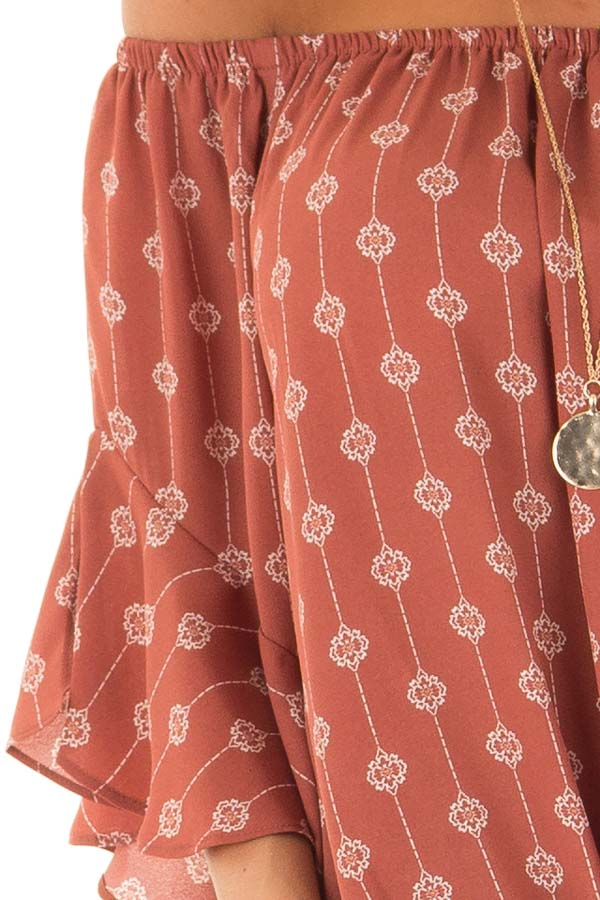 Brick Medallion Print Off the Shoulder Top with Tie Detail detail