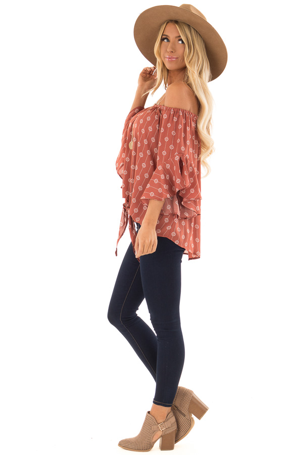 Brick Medallion Print Off the Shoulder Top with Tie Detail side full body