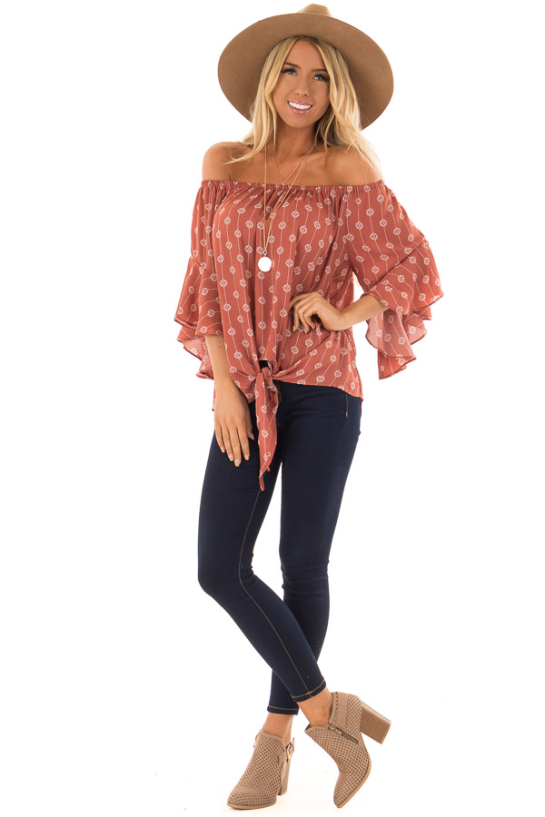 Brick Medallion Print Off the Shoulder Top with Tie Detail front full body