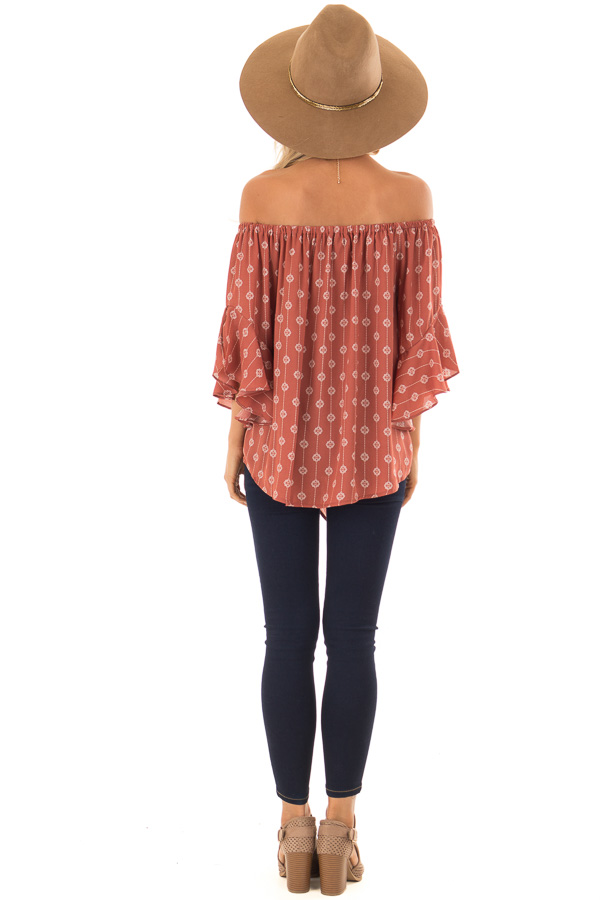 Brick Medallion Print Off the Shoulder Top with Tie Detail back full body