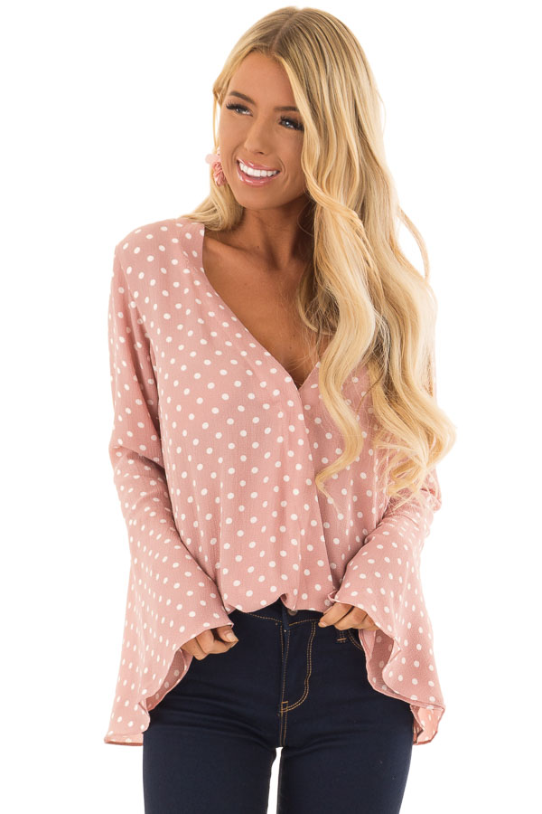 Blush Polka Dot Long Bell Sleeve Bodysuit front close up