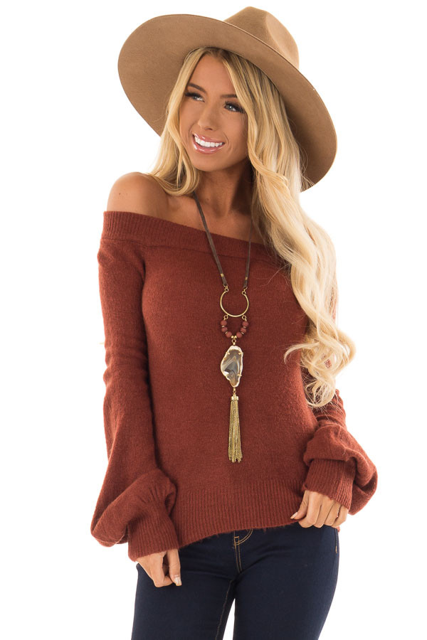 9b071af08a Rust Off Shoulder Sweater with Bubble Sleeves - Lime Lush Boutique