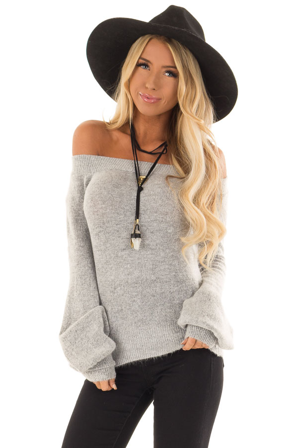 901d979943 Heather Grey Off Shoulder Sweater with Bubble Sleeves - Lime Lush ...