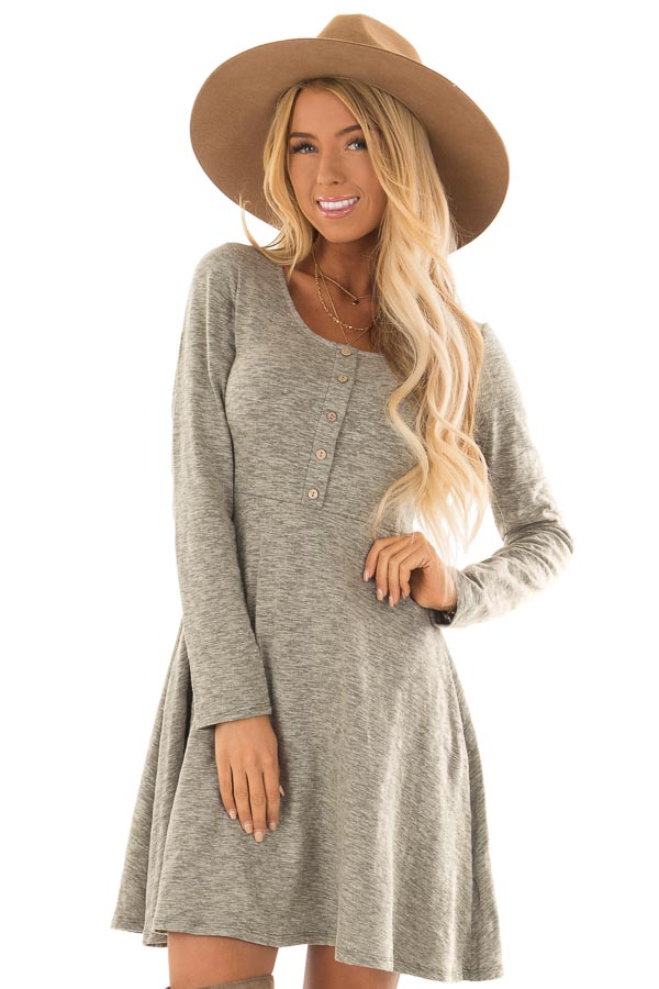 Dusty Olive Heathered Long Sleeve Flare Dress front close up