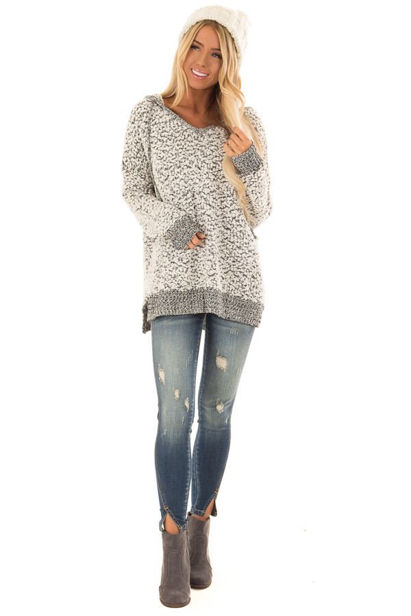 6ee34e546bf ... Cream and Black Long Sleeve Popcorn Knit Hoodie front full body ...