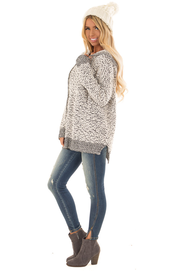 fc986a77407 ... Cream and Black Long Sleeve Popcorn Knit Hoodie side full body ...