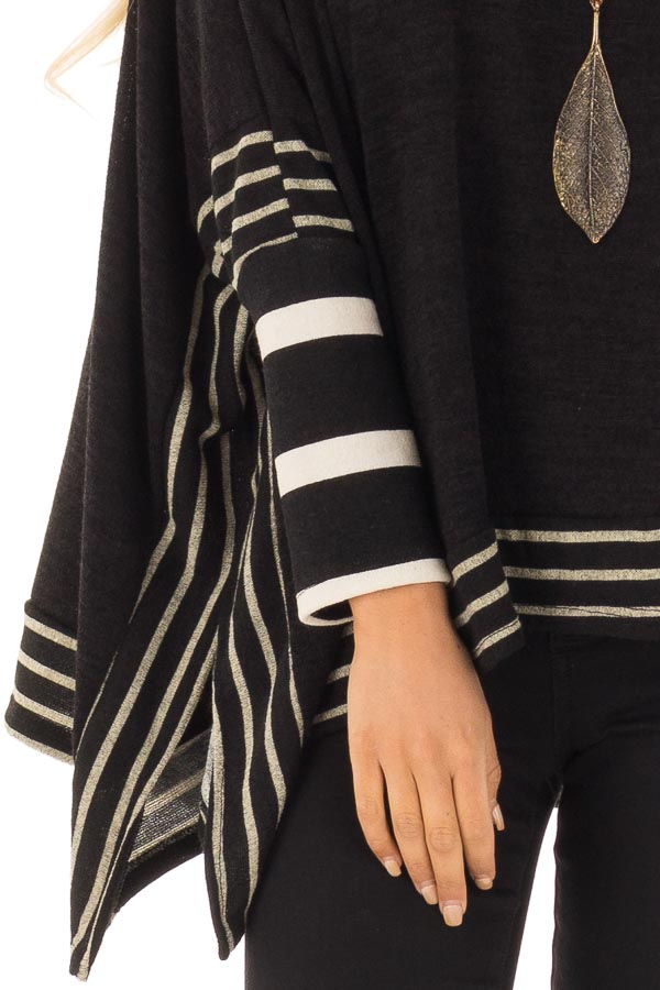 Black Long Sleeve Poncho with Off White Striped Trim detail