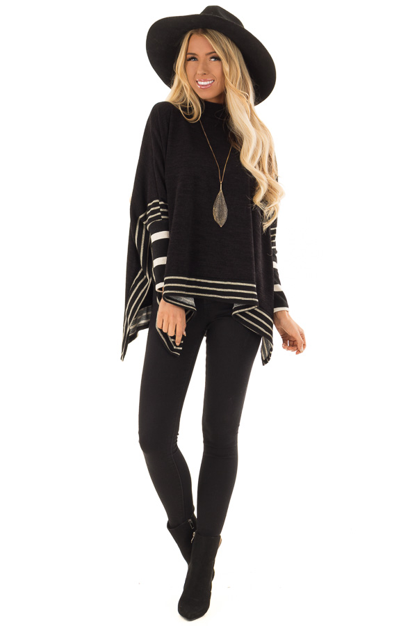 Black Long Sleeve Poncho with Off White Striped Trim front full body
