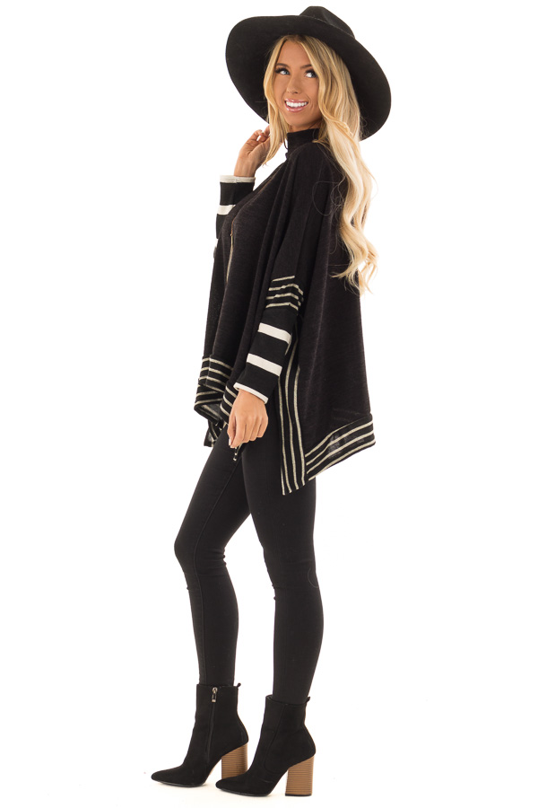 Black Long Sleeve Poncho with Off White Striped Trim side full body