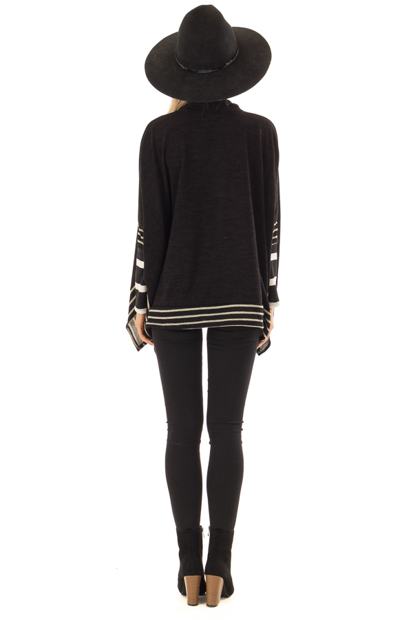 Black Long Sleeve Poncho with Off White Striped Trim back full body
