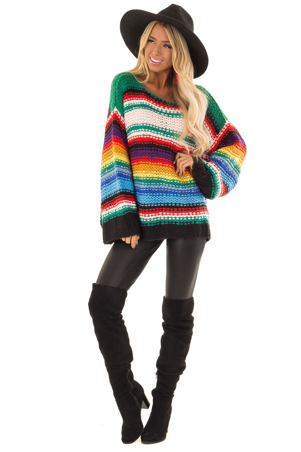Rainbow Stripe Oversized Long Sleeve Knit Sweater front full body