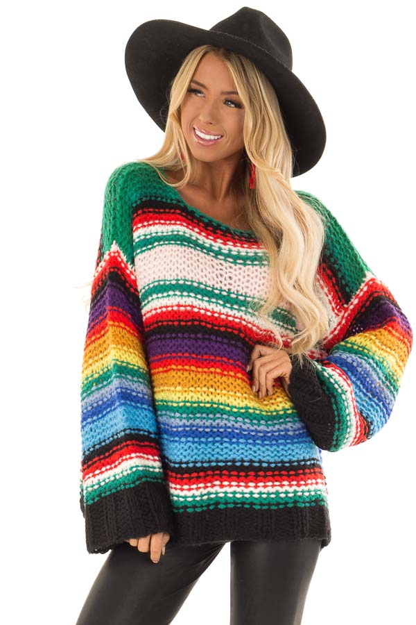 Rainbow Stripe Oversized Long Sleeve Knit Sweater front close up