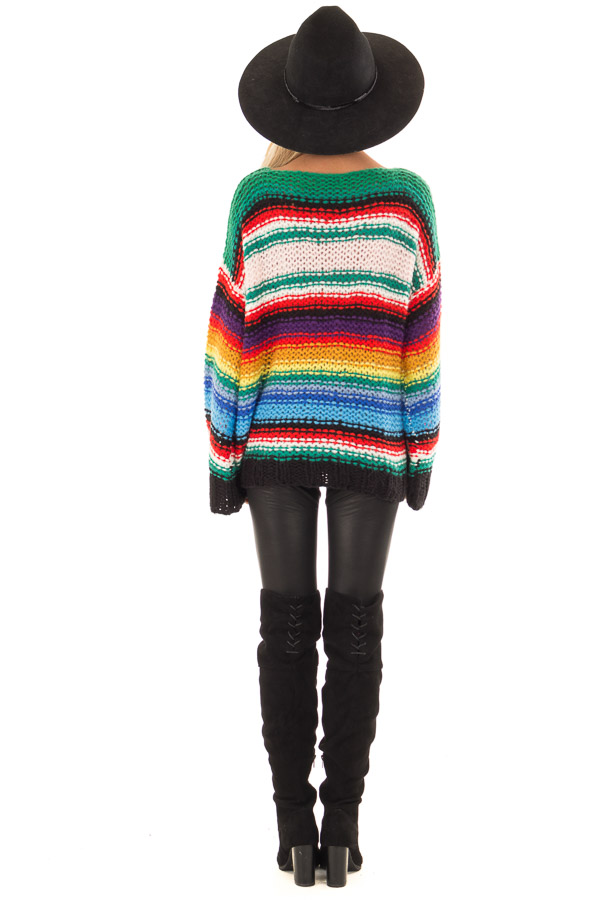 Rainbow Stripe Oversized Long Sleeve Knit Sweater back full body