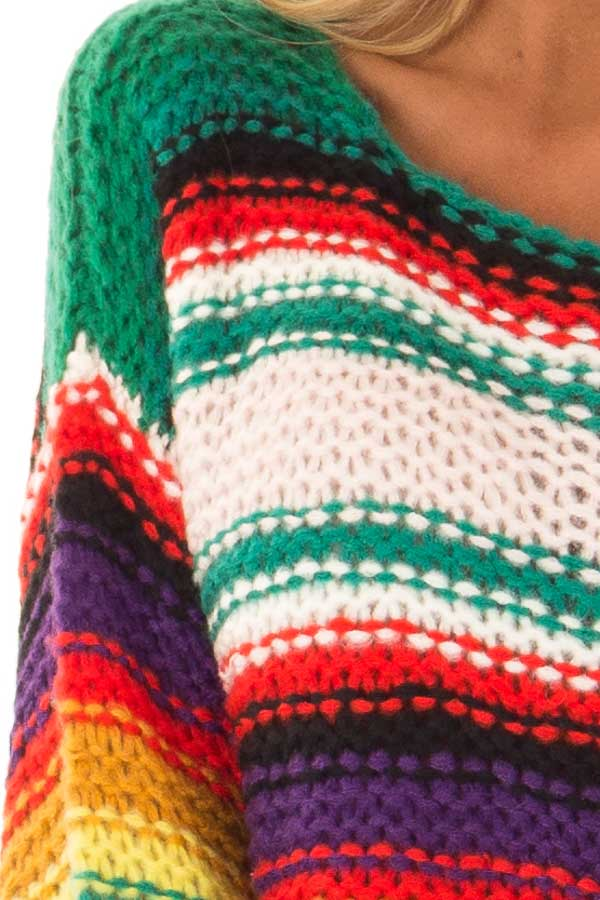 Rainbow Stripe Oversized Long Sleeve Knit Sweater detail