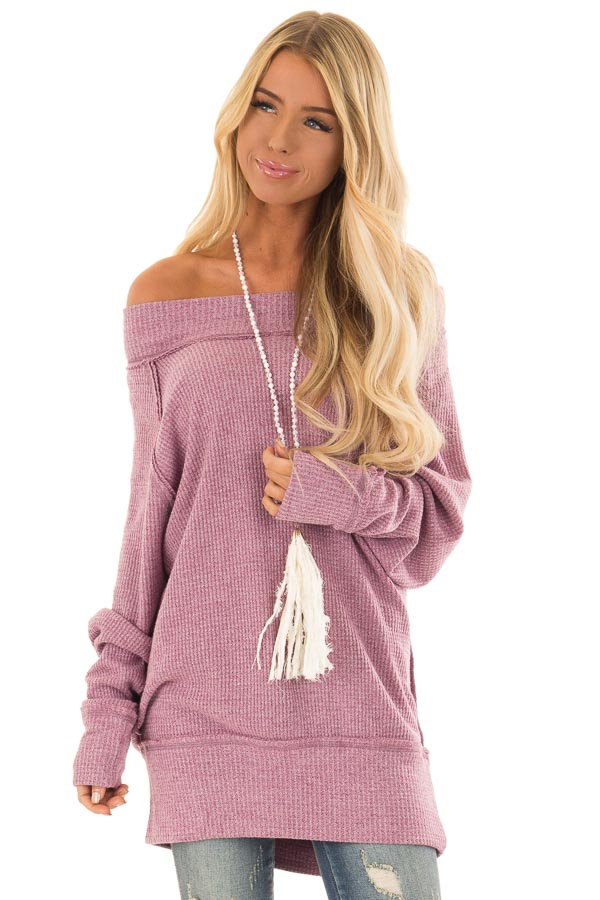 629dc33ab9b Lilac Off the Shoulder Long Sleeve Thermal Tunic Top - Lime Lush ...