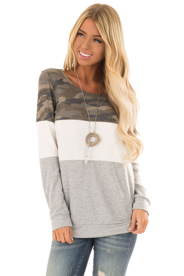Camo and Heather Grey Color Block Long Sleeve Top front close up