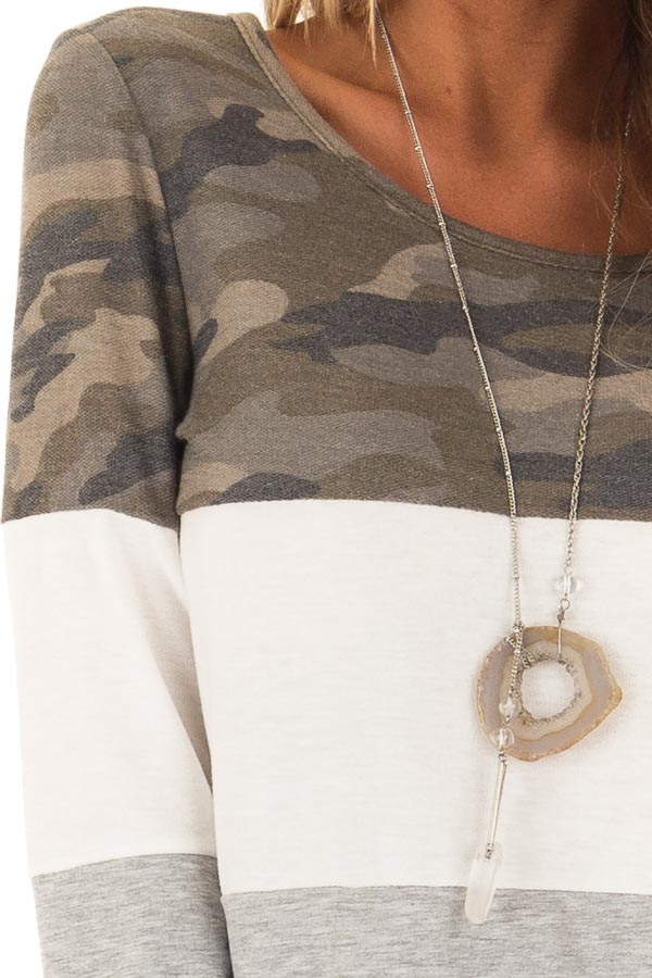 Camo and Heather Grey Color Block Long Sleeve Top detail