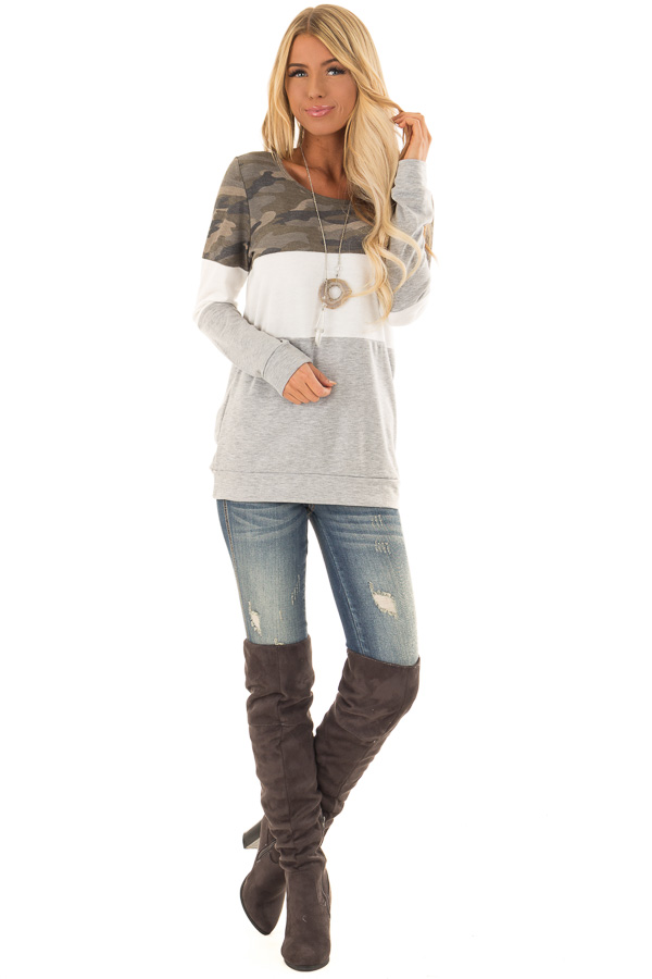 Camo and Heather Grey Color Block Long Sleeve Top front full body