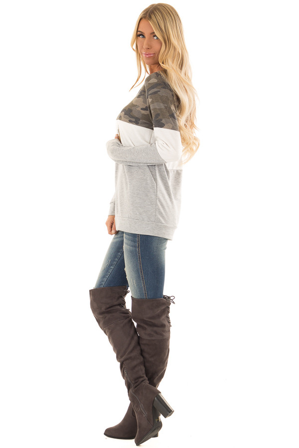 Camo and Heather Grey Color Block Long Sleeve Top side full body