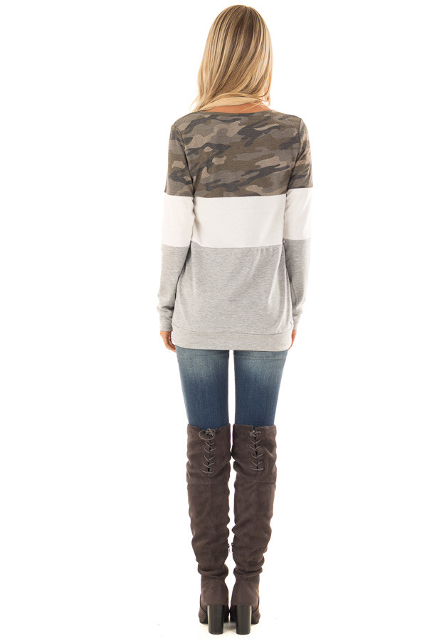 Camo and Heather Grey Color Block Long Sleeve Top back full body