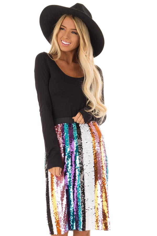 Multicolor Striped Sequin Pencil Skirt front close up