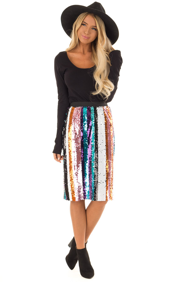 Multicolor Striped Sequin Pencil Skirt front full body