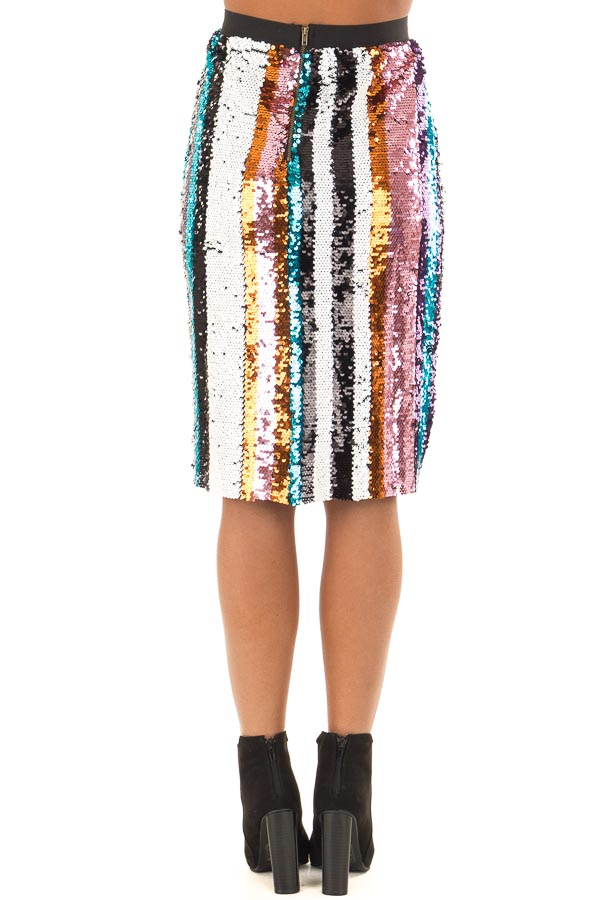 Multicolor Striped Sequin Pencil Skirt back view