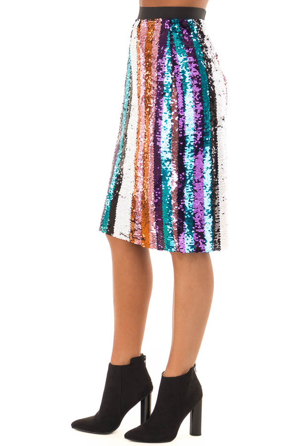 Multicolor Striped Sequin Pencil Skirt side view