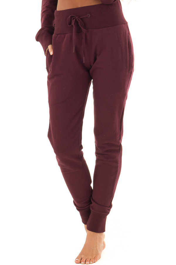 Burgundy High Rise Joggers with Side Pockets front view