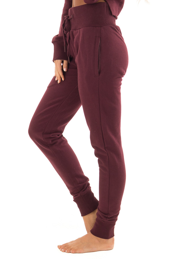 Burgundy High Rise Joggers with Side Pockets side view