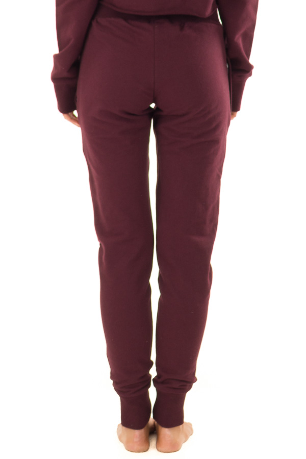 Burgundy High Rise Joggers with Side Pockets back view