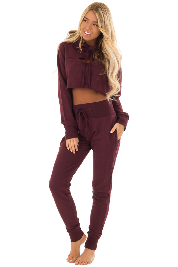 Burgundy High Rise Joggers with Side Pockets front full body