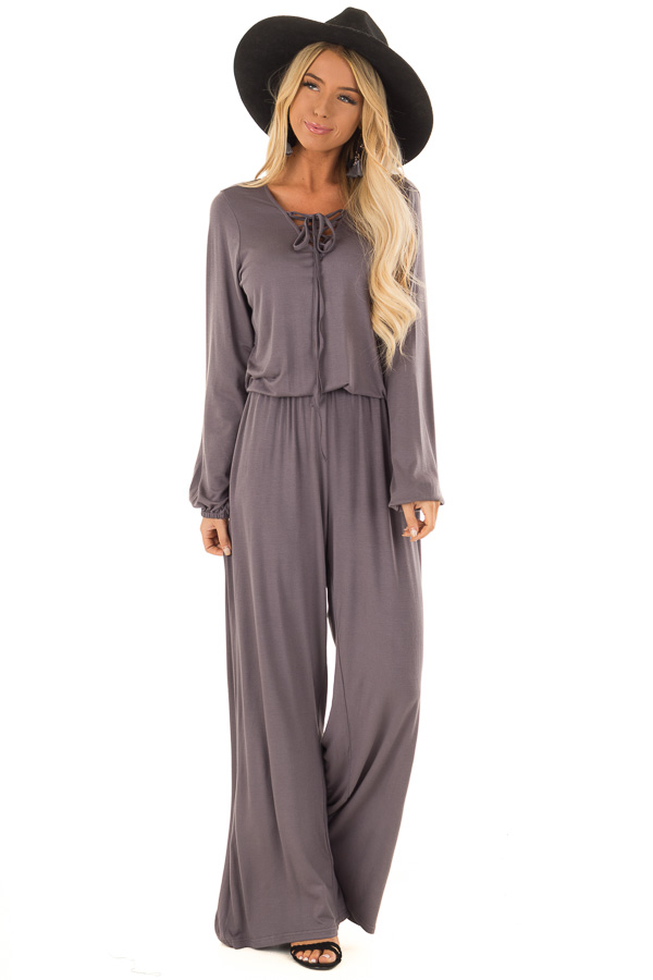 Ash Grey Long Sleeve Jumpsuit with Lace Up Detail front full body