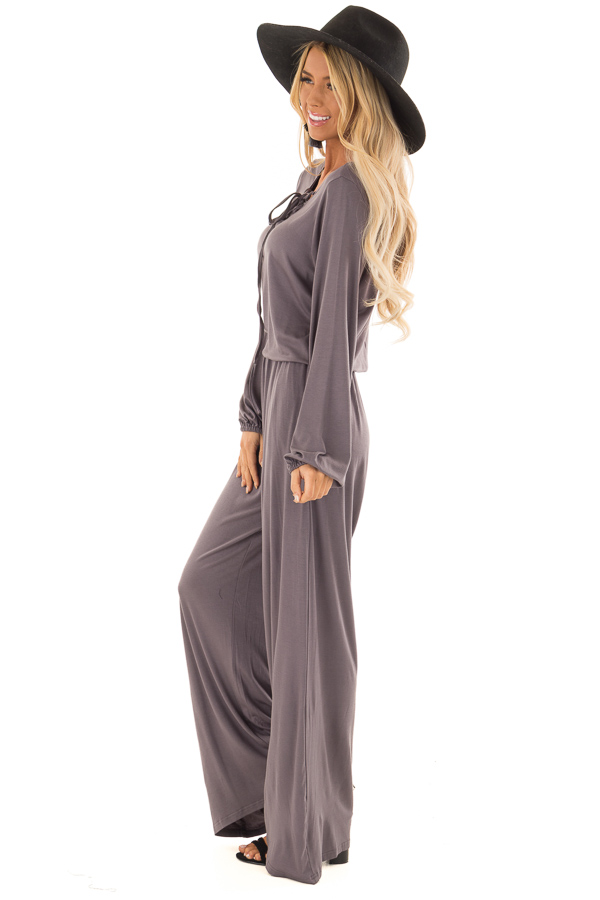 Ash Grey Long Sleeve Jumpsuit with Lace Up Detail side full body