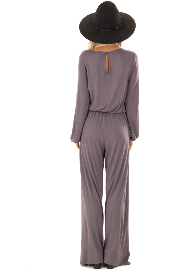 Ash Grey Long Sleeve Jumpsuit with Lace Up Detail back full body
