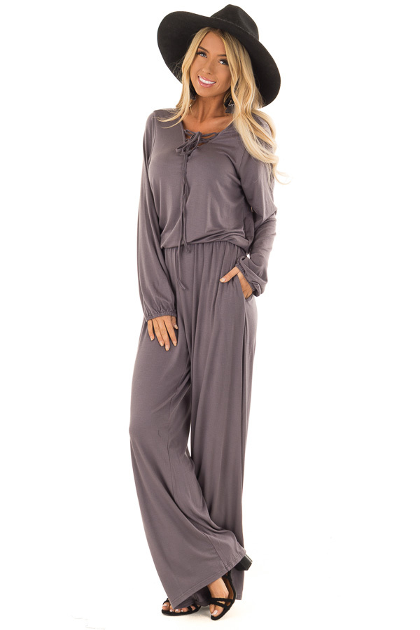 7fceb287c5f Ash Grey Long Sleeve Jumpsuit with Lace Up Detail - Lime Lush Boutique