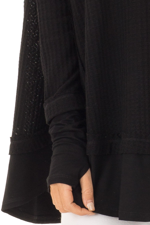 Midnight Black Layered V Neck Long Sleeve Thermal Top detail