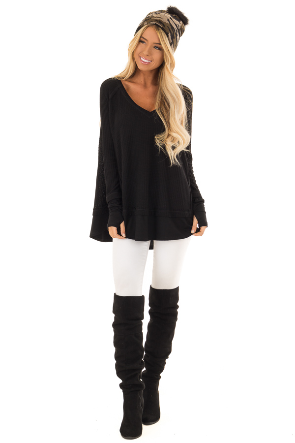 Midnight Black Layered V Neck Long Sleeve Thermal Top front full body