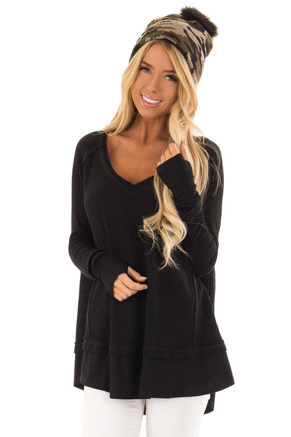 Midnight Black Layered V Neck Long Sleeve Thermal Top front close up