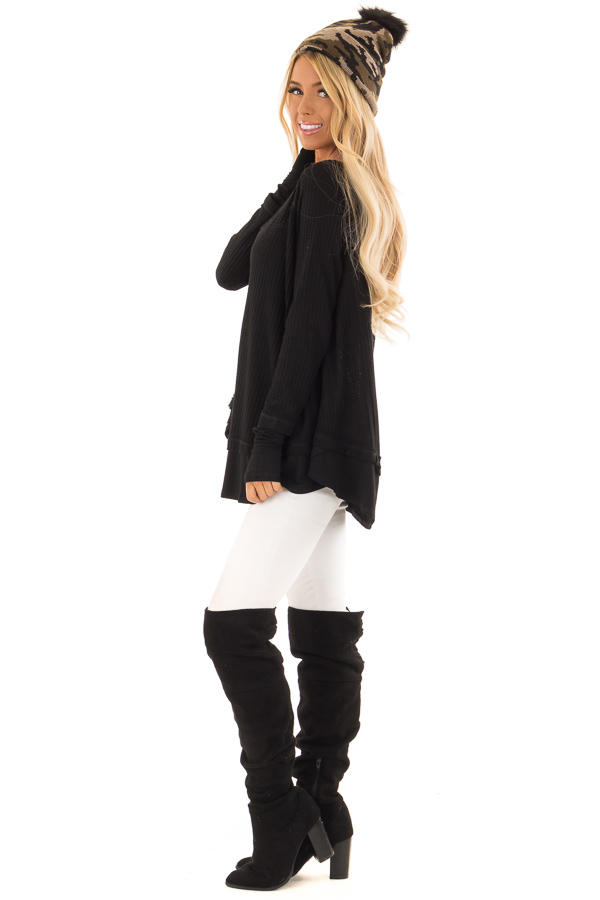 Midnight Black Layered V Neck Long Sleeve Thermal Top side full body