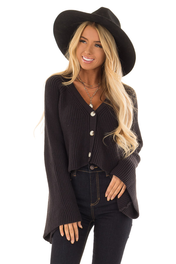 2eabf3ac1c6f Black Cropped Button Up Sweater with Long Bell Sleeves - Lime Lush ...