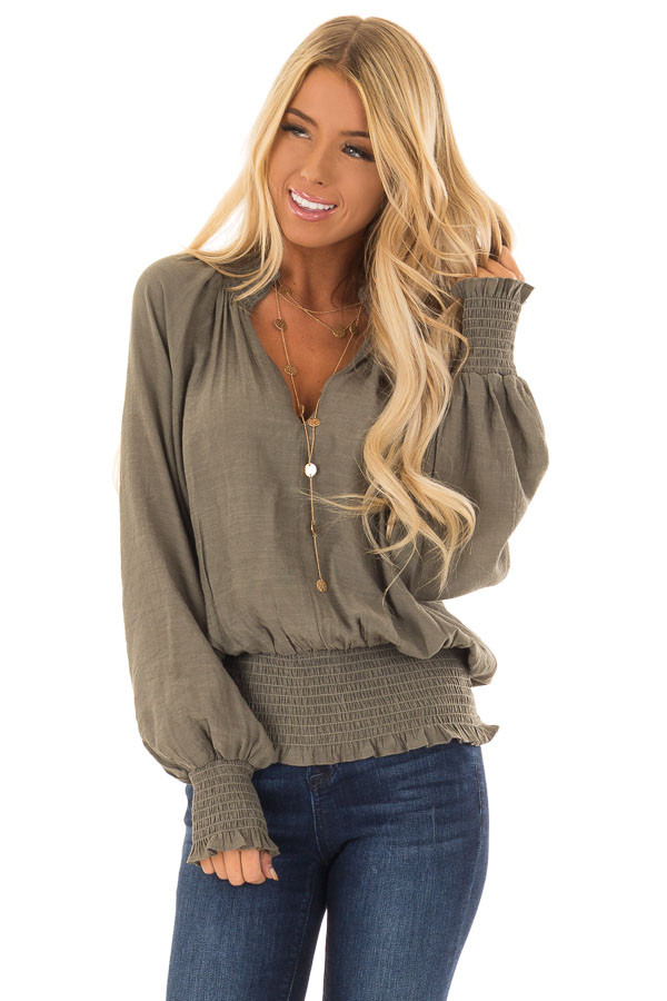 Olive V Neck Blouse with Bishop Sleeves and Smocked Detail front close up
