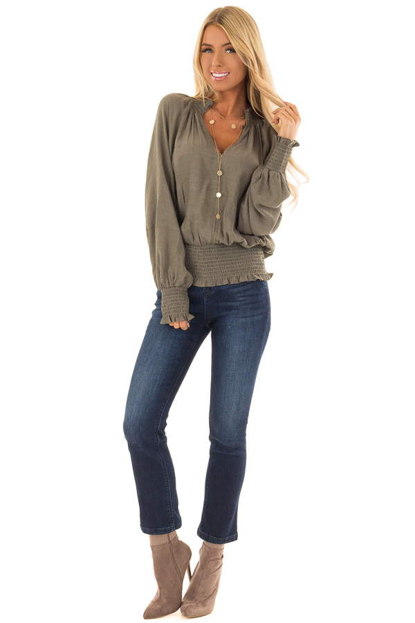 Olive V Neck Blouse with Bishop Sleeves and Smocked Detail front full body