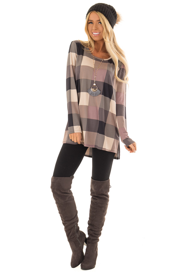 02f55f5aac1 Lilac and Charcoal Plaid Soft Long Sleeve Tunic Top - Lime Lush Boutique