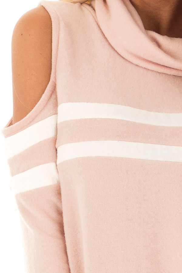 Blush Cold Shoulder Turtle Neck Top with Long Sleeves detail