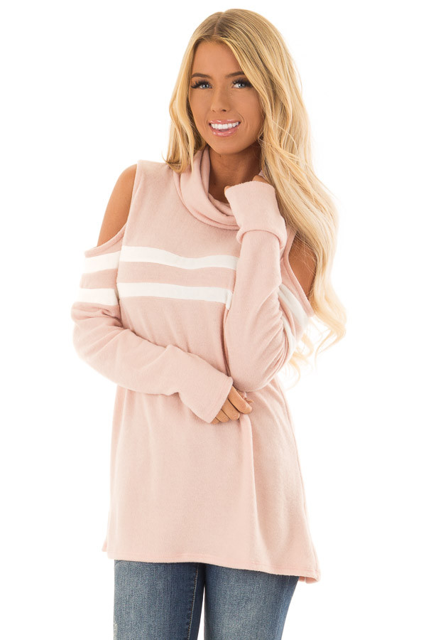 Blush Cold Shoulder Turtle Neck Top with Long Sleeves front close up